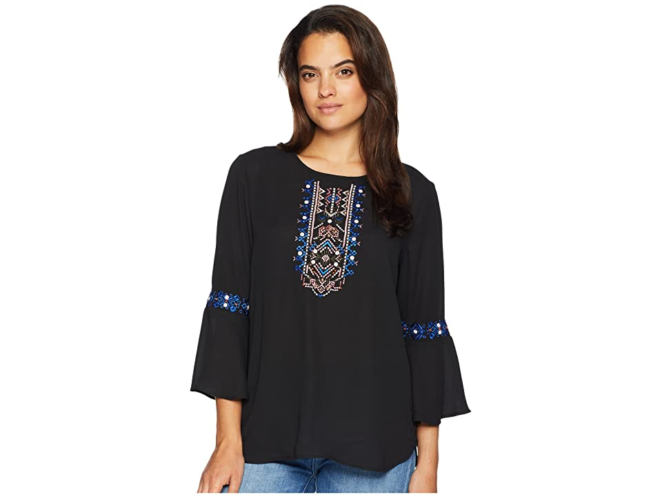 Ivanka Trump Long Sleeve Embroidered Top with Open Hem (Black) Women's Clothing