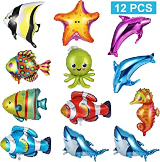 10 Pieces Foil Balloons Fish Balloons Large Sea Animal Balloons Aluminum Sea Creatures Tropical Fish Mylar Balloons Self-Sealing Party Decoration Supplies