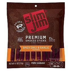Slim Jim Premium Smoked Sticks, Spicy Chili & Garlic Flavor, 4.1 Oz. Bag