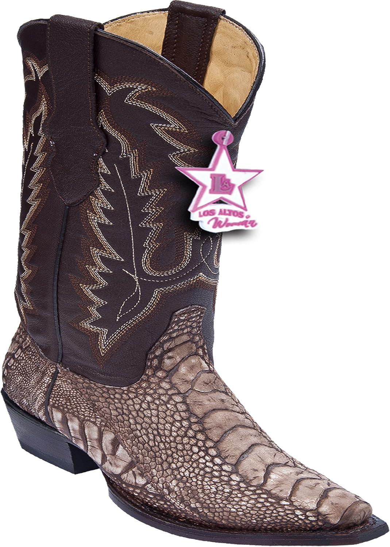 Los Altos Ladies Snip Toe Genuine Leather Ostrich Leg Western Boots