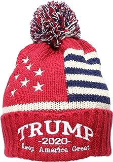 Adult US Flag Embroidered Trump 2020 Keep America Great Beanie