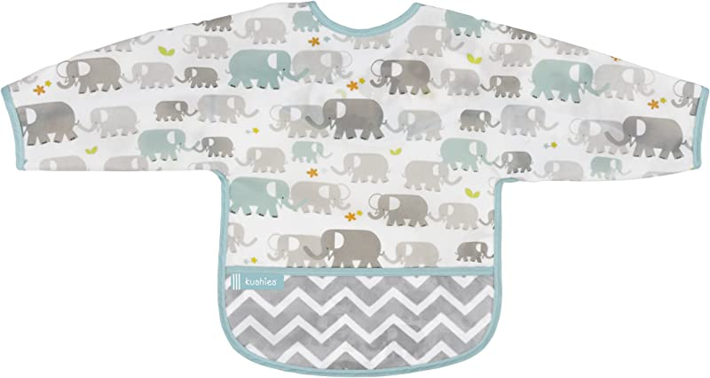 Kushies Cleanbib Waterproof Feeding Bib With Sleeves And Catch All Crumb Catcher Pocket Wipe Clean And Reuse Lightweight For Comfort Baby Boys And Girls Unisex 6 12 Months White Elephants