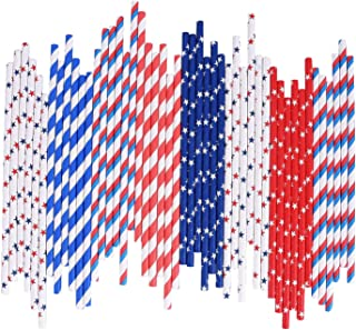 4th of July Paper Straws Bulk Biodegradable Disposable Drinking Blue Red White Striped Wave Star for Patriotic Party Supplies