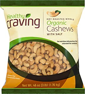 Healthy Craving Organic Cashews, 3lbs I Dry Roasted, Salted, Whole, Vegan Snacks, Vegetarian-Friendly, Kosher, Gluten-Free