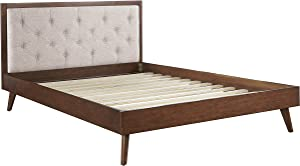 Linon Home Decor Products AMZN1498 Linon Kinsley Mid Century Oatmeal Queen Bed Platform, Walnut Brown