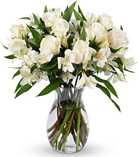 Benchmark Bouquets Elegance Roses and Alstroemeria, With Vase (Fresh Cut Flowers)
