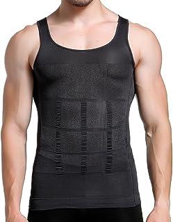 Mens Slimming Body Shaper Vest Shirt Abs Abdomen Slim