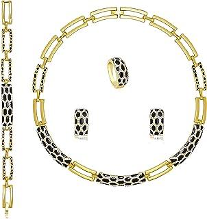 Aman Joyería Conjunto de joyas Larnaca | Conjunto Collar Pulsera Anillo Pendientes | Conjunto de joyas de mujer chapado en...