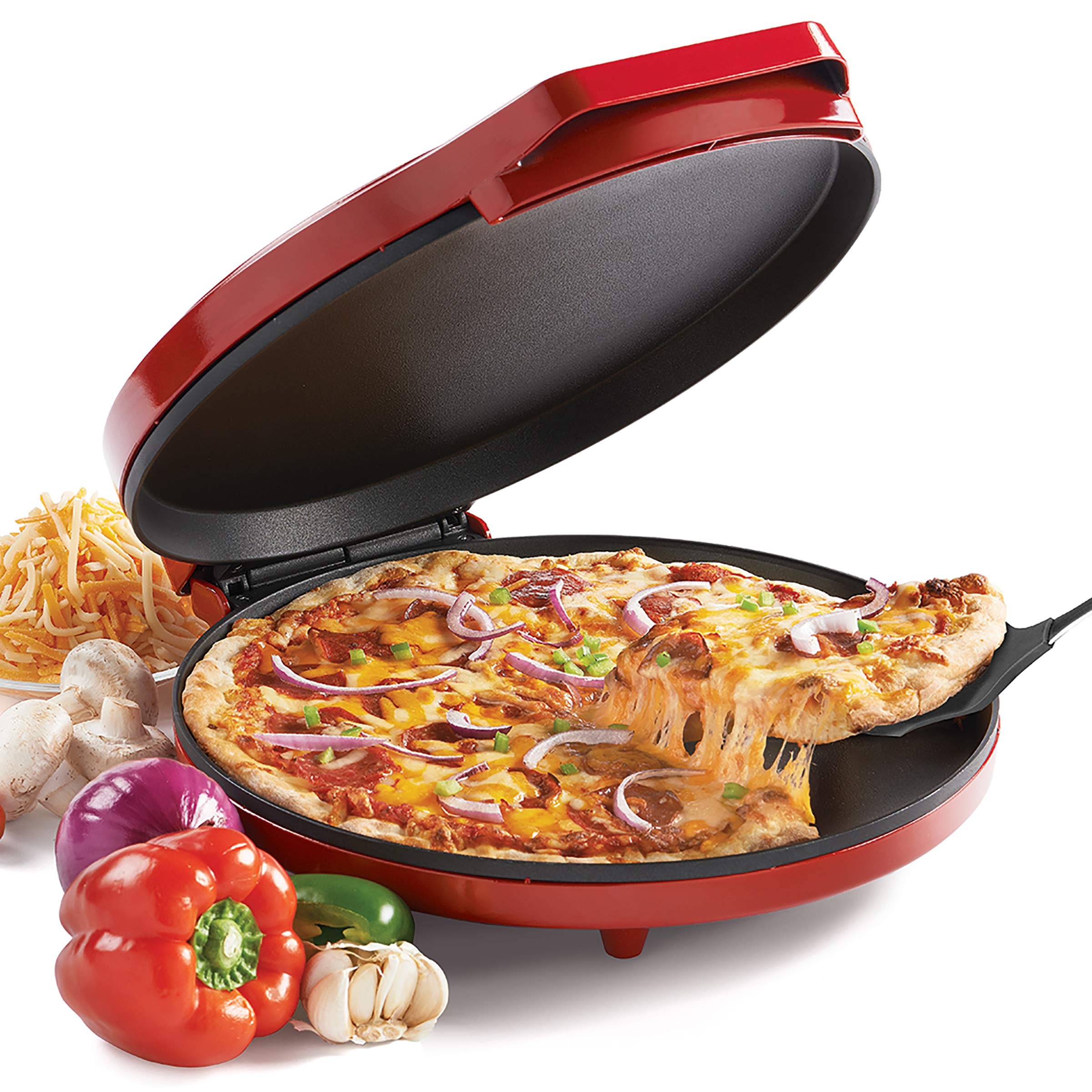 Commercial Chef CHQP12R 12-Inch Pizza Maker, Red