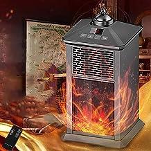 Elektrische Openhaardverwarmer, Vrijstaande Openhaardkachel Met Realistische 3D-vlam, Instelbare Temperatuur, Draagbare Ru...