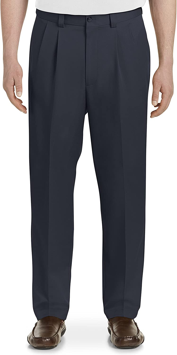Oak Hill by DXL Big and Tall Waist-Relaxer Pleated Microfiber Pants- New & Improved Fit