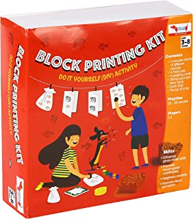 CocoMoco Kids Block Printing DIY Kit, Activity Kit for Kids with Wooden Stamps, Return Gift for 3-5 Years, 7-8 Years (Mult...