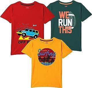 ARIEL Boys' T-Shirt Pack of 3 Cotton, Regular Fit, Multicolour