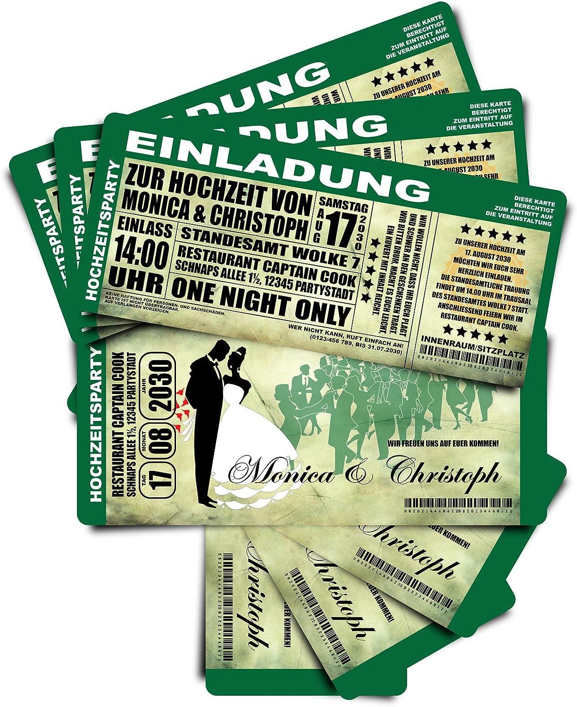 Tarjetas de invitación para bodas de boda  El concierto–verde  Tarjetas de boda invitaciones boda