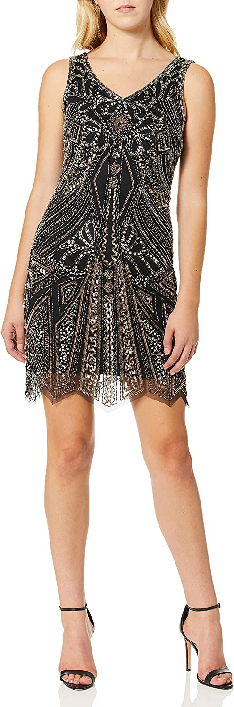 Pisarro Nights Women's Short Beaded Dress with Zig Zag Sweep