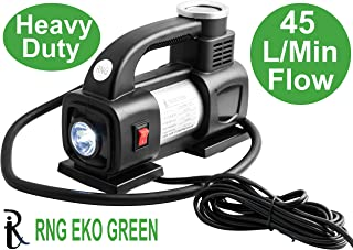RNG EKO GREEN - Heavy Duty Supersonic High Speed Tyre Inflator for Car/Bike 12V/180W/100PSI Air Compressor with LED-Black ...