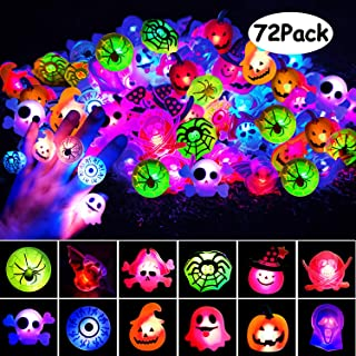 U-Goforst 72 Pack Halloween LED Ring Halloween Party Favor Light Up Glow in The Dark Party Supplies for Men Women Cute Gifts Prizes Goodie Bags Decoration Flashing Rings with Gift Package (12 Styles)