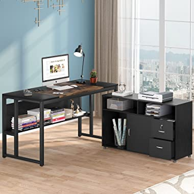 Tribesigns L ShapedComputer Desk, 55 inches Executive Office Desk with File Cabinet, Gaming Table Writing Desk with Drawers a