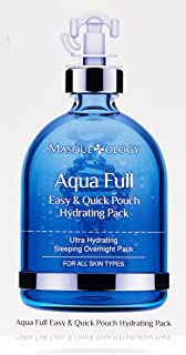 Masqueology - Aqua Full Easy and Quick Pouch Hydrating Mask   Sleeping Overnight Pack - Nourishes and Hydrates (12 Pack)