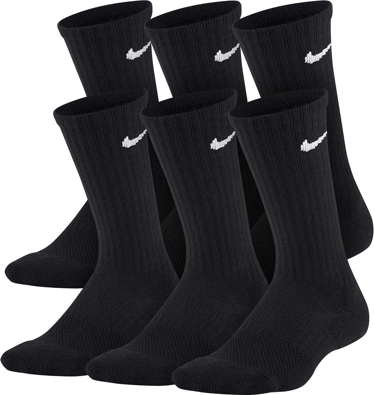 (Small, Black White)  NIKE Kids' Everyday Cushion Crew Socks (6 Pairs)