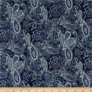TELIO Dark Blue Stretch Denim Paisley Print Fabric by The Yard