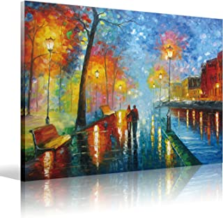 "Eatco HD Art Wooden Framed HD Stretched ready to Hang Canvas Wall Art Romantic Oil Painting 12x16 inch(30x40cm)1pc""lovers walk on the side of the lake"" Prints on Canvas,Palette Knife Painting"