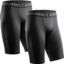 DANISH ENDURANCE Compressieshorts voor Heren, Trainingsshorts, Trainingstights met Zak, Ademende Basislaag voor Hardlopen ...