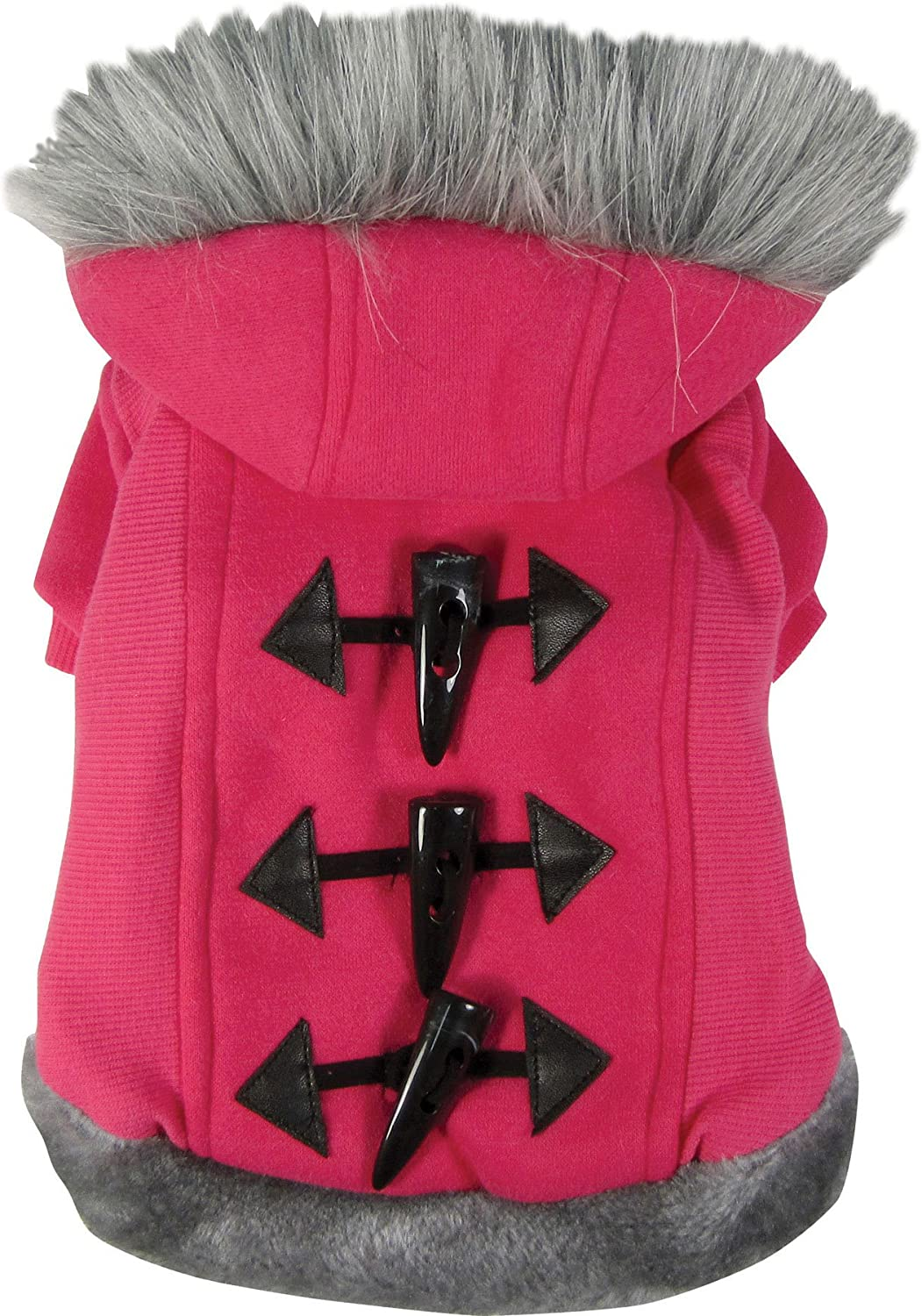 Dogit Style Dog Hoodie Sweater with Faux Fur Trimmed Hood, Large, Pink