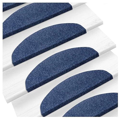 etm Set de 15 marchettes d'escalier Surface Confortable et antidérapante | Taille 23x65cm | Couleurs diverses - Bleu