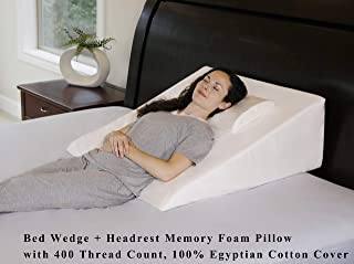 InteVision Extra Large Bed Wedge Pillow (33 x 30.5 x 12) & Headrest Pillow in ONE Package - 100% Egyptian Cotton Cover - Helps Relief from Acid Reflux, Post Surgery - 2 Memory Foam Top