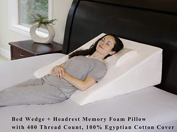 InteVision Extra Large Bed Wedge Pillow 33 X 30 5 X 12 Headrest Pillow In ONE Package 100 Egyptian Cotton Cover Helps Relief From Acid Reflux Post Surgery 2 Memory Foam Top