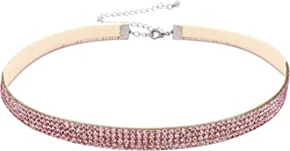Cryshimmer Crystal Choker Necklace for Women Girls Gothic Pink Rhineston Tatoo Velvet Choker