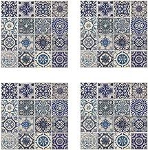 Wallflexi Muurstickers Spaans Blauwe Tegels Muurschilderingen Verwijderbare Zelfklevende Decals Office Home Decoratie, Mul...