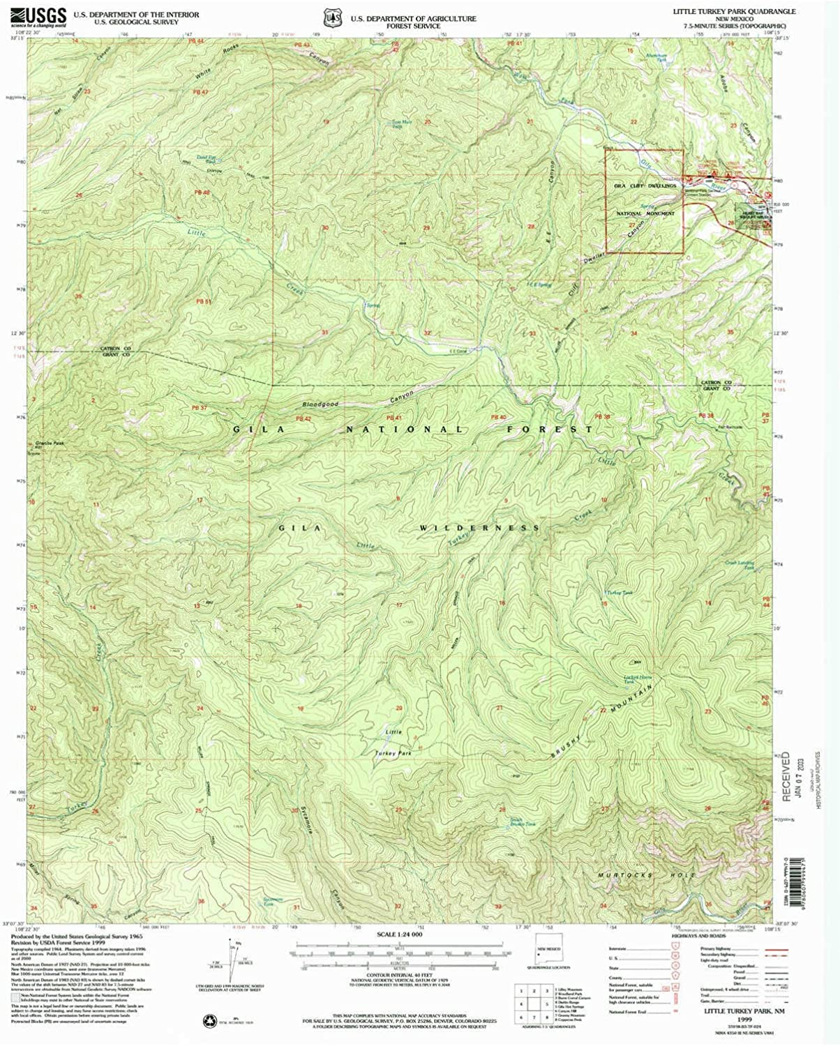 Little Turkey Park NM topo map, 1 24000 Scale, 7.5 X 7.5 Minute, Historical, 1999, Updated 2002, 26.9 x 22 in