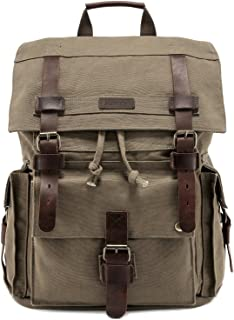 "Kattee Men's Leather Canvas Backpack Large School Bag Travel Rucksack for 17"" Laptop (Army Green)"