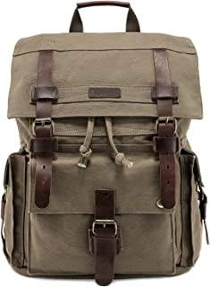 """Kattee Men's Leather Canvas Backpack Large School Bag Travel Rucksack for 17"""" Laptop (Army Green)"""