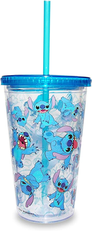 Disney Parks Stitch Tumbler With Straw Drink Cup With Lid
