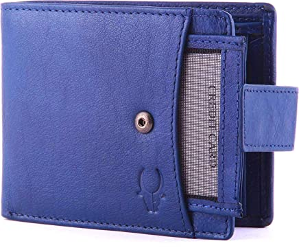 WildHorn Genuine Leather Hand-Crafted Bifold Wallet,Ultra Slim Wallet with 6 Card Slots,Coin pocket,Quick Card Slot and 2 Currency Pockets-Blue WHW125