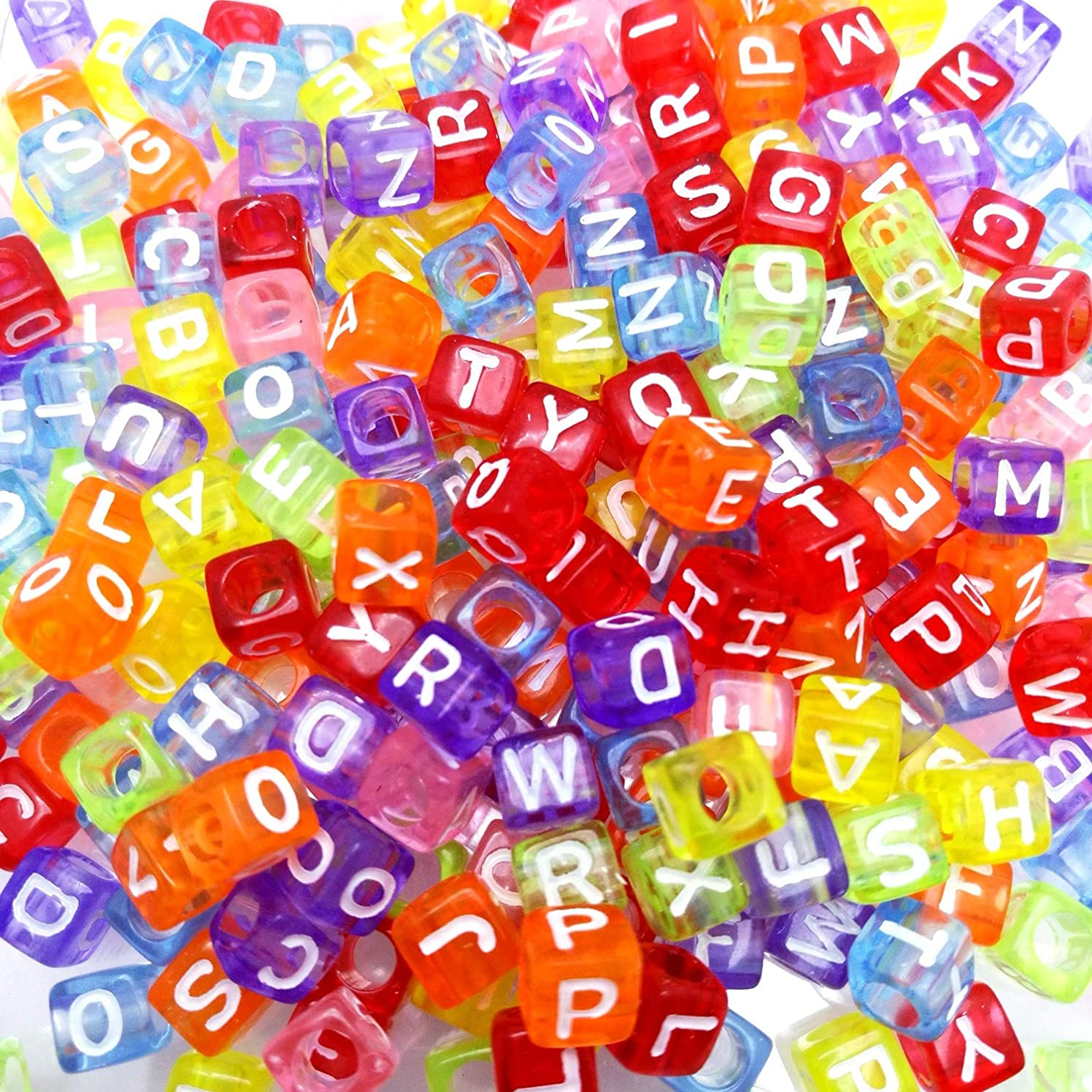 Amaney 800 Pieces 6mm Colored Transparent Cube Acrylic Alphabet Letter Beads A-Z for Jewelry Making Bracelets Necklaces Key Chains and Kids Jewelry Each Letter Included