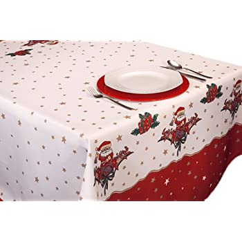 ExclusivoCIR Manteles Joyeaux Noel Navidad Pascua Estampados Antimanchas Colores Primaverales Decoracion Hogar (240 x 150 cm)