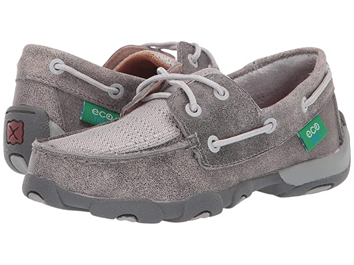 Twisted X  Driving Moc Boat Shoe (Little Kid/Big Kid) (Grey/Light Grey) Shoes
