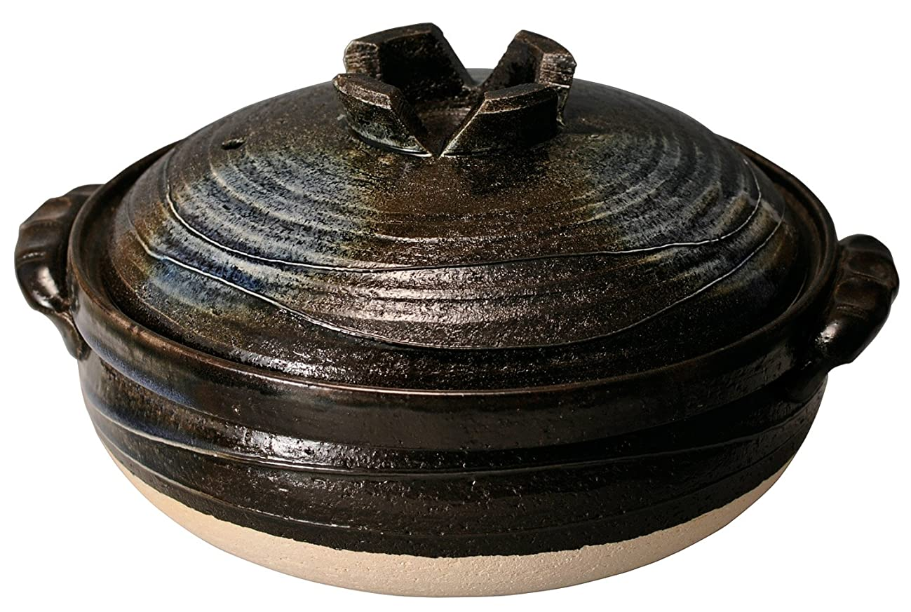 肌台無しにつかむマルヨシ陶器 黒釉 7号鍋 M3542