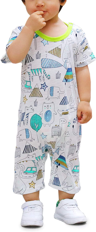Newborn Girl's Baby Boys Infant Summer Short Sleeve Pajama Cute Cartoon Romper Overalls Outfits