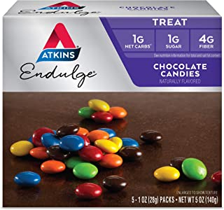 Atkins Endulge Choco Candies. Delicious Low Carb, Low Sugar Snack with Rich Choco in Bite-Size Pieces. 5 ounce per Pack (2 Packs)