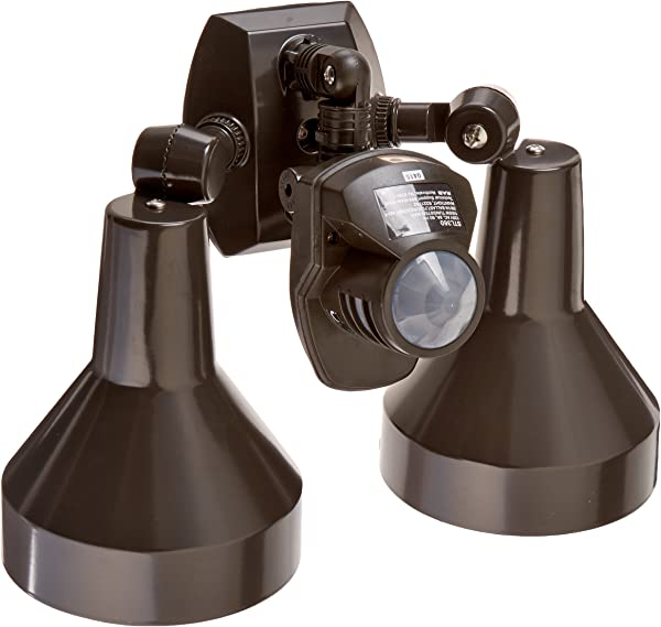 RAB Lighting STL360H Super Stealth 360 Sensor With Twin Precision Die Cast H101 Deluxe Shielded Bell Floods 360 Degrees View Detection 1000W Power 120V Bronze Color