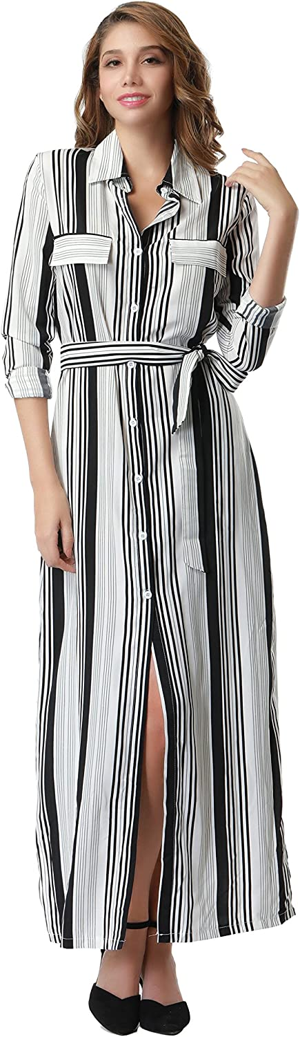 Clarisbelle Womens Button Down Collar Roll up Sleeve Stripes Long Maxi Dresses with Pockets