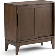 خزانة تخزين منخفضة حديثة من الخشب الصلب بعرض 76.2 سم من Simpli Home Harper بلون بني الجوز