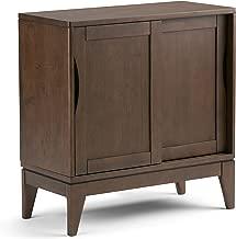 Simpli Home 3AXCHRP-05 Harper Solid Hardwood 30 inch Wide Mid Century Modern Low Storage Cabinet in Walnut Brown