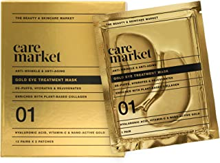 Care Market 24K Gold Under Eye Patches - Collagen, Hyaluronic Acid, Vitamin-C - Eye Treatment Depuffing Mask for Anti-Wrin...
