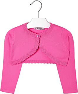 Mayoral Girls 2T-9 Fuchsia-Pink Scallop Edge Knit Shrug Cardigan Sweater